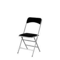 chaise-pliante-velours-noir-cadre-argent