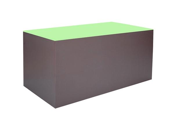 Buffet Koffre marron vison, vert pistache