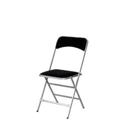 Chaise Pliante Velours Noir Cadre Argent